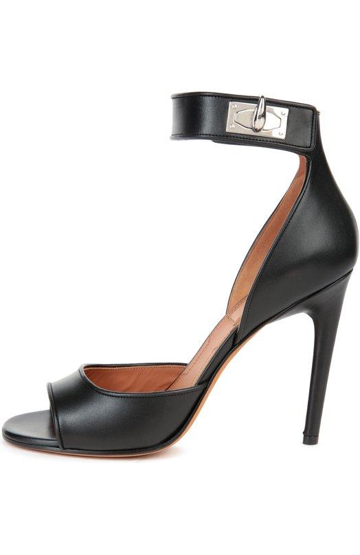 Кожаные босоножки Shark Lock на шпильке GivenchyБосоножки<br>Мастера бренда, основанного Юбером де Живанши, сшили модель из гладкой матовой кожи черного цвета. Босоножки на высоком тонком каблуке фиксируются на ноге широким ремешком с поворотным замком в виде акульего зуба.<br><br>Российский размер RU: 37<br>Пол: Женский<br>Возраст: Взрослый<br>Размер производителя vendor: 37-5<br>Материал: Кожа натуральная: 100%; Стелька-кожа: 100%; Подошва-кожа: 100%;<br>Цвет: Черный