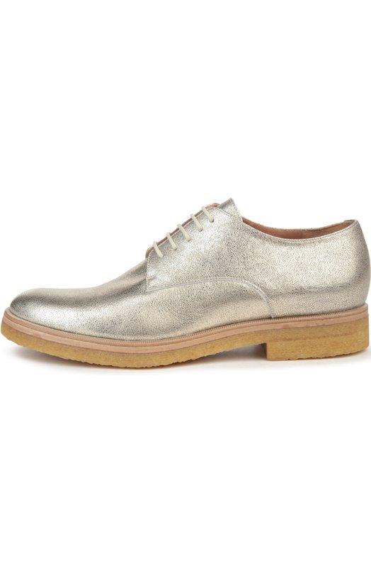 Кожаные ботинки на шнуровке Dries Van NotenБотинки<br>Серебристые ботинки на шнуровке, с круглым мысом произведены из металлизированной зернистой кожи. Модель на подошве crepe sole из ультралегкой резины вошла в весенне-летнюю коллекцию бренда, основанного Дрисом ван Нотеном.<br><br>Российский размер RU: 39<br>Пол: Женский<br>Возраст: Взрослый<br>Размер производителя vendor: 39<br>Материал: Кожа натуральная: 100%; Стелька-кожа: 100%; Подошва-резина: 100%;<br>Цвет: Серебряный