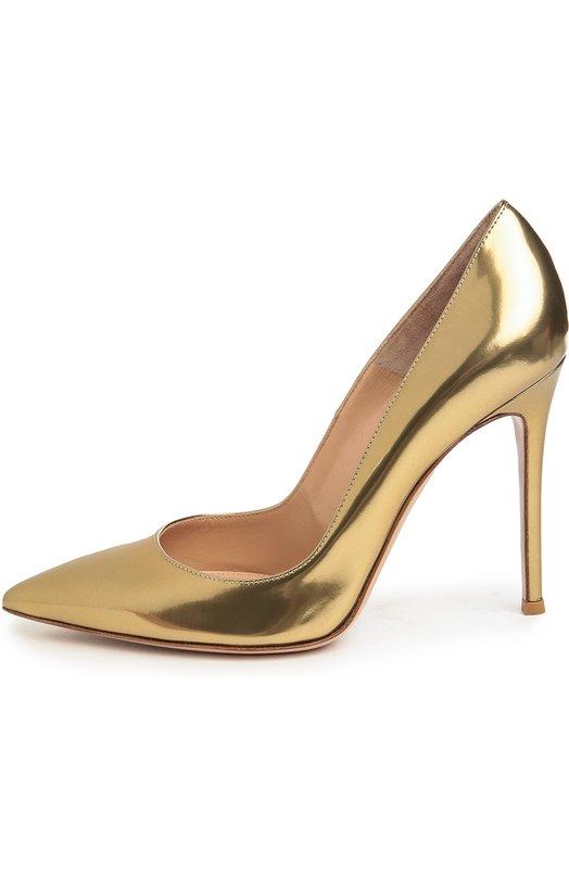 Туфли Gianvito 105 из металлизированной кожи Gianvito RossiТуфли<br>Классические туфли-лодочки Gianvito с зауженным мысом дополнены высоким тонким каблуком. Мастера бренда, основанного Джанвито Росси, изготовили обувь из мягкой металлизированной кожи золотистого цвета.<br><br>Российский размер RU: 38<br>Пол: Женский<br>Возраст: Взрослый<br>Размер производителя vendor: 38-5<br>Материал: Кожа натуральная: 100%; Стелька-кожа: 100%; Подошва-кожа: 100%;<br>Цвет: Золотой