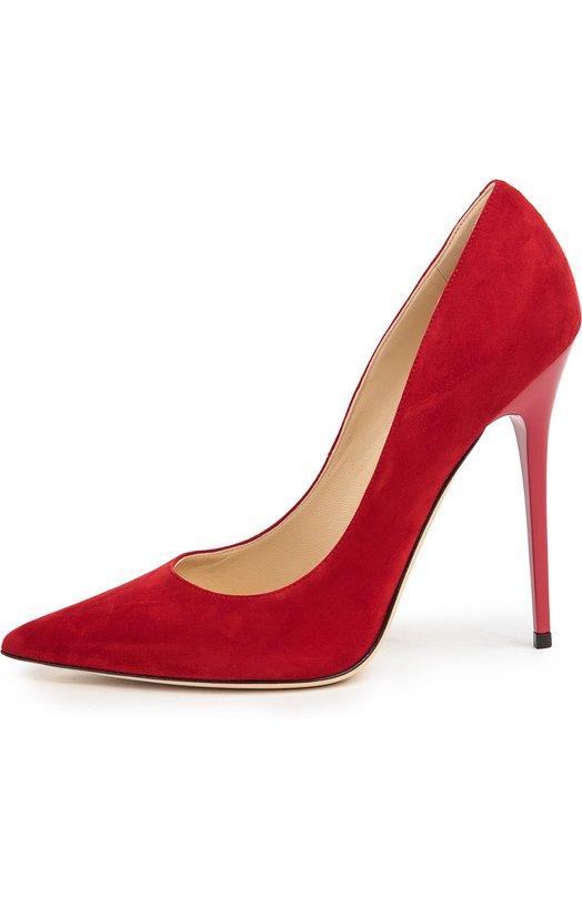 Замшевые туфли Anouk на шпильке Jimmy ChooТуфли<br>Классические туфли-лодочки Agnes насыщенного алого цвета дополнены высоким тонким каблуком. Для производства обуви с зауженным мысом и на тонкой подошве мастера бренда, основанного Джимми Чу, использовали мягкую замшу.<br><br>Российский размер RU: 36<br>Пол: Женский<br>Возраст: Взрослый<br>Размер производителя vendor: 36-5<br>Материал: Стелька-кожа: 100%; Подошва-кожа: 100%; Замша натуральная: 100%;<br>Цвет: Красный