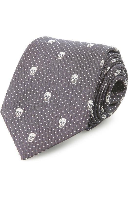 Шелковый галстук с узором в виде черепов Alexander McQueen 165724/4Q053