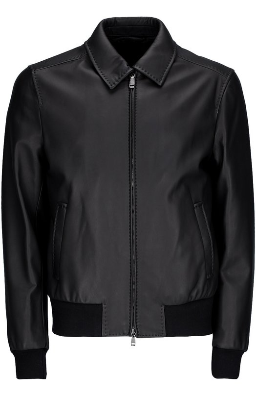 Кожаная куртка-бомбер BrioniКуртки<br><br><br>Российский размер RU: 62<br>Пол: Мужской<br>Возраст: Взрослый<br>Размер производителя vendor: 60<br>Материал: Кожа натуральная: 100%; Подкладка-купра: 100%;<br>Цвет: Черный