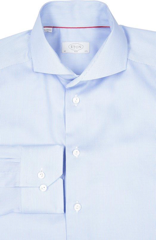 Приталенная сорочка с воротником акула EtonРубашки<br>Светло-голубая сорочка из гладкого хлопка с принтом в виде тонких полос вошла в весенне-летнюю коллекцию 2016 года. Приталенная модель с воротником акула и длинными рукавами застегивается на пуговицы. Рекомендуем носить с темным костюмом, голубым галстуком и черными туфлями.<br><br>Российский размер RU: 54<br>Пол: Мужской<br>Возраст: Взрослый<br>Размер производителя vendor: 43<br>Материал: Хлопок: 100%;<br>Цвет: Голубой