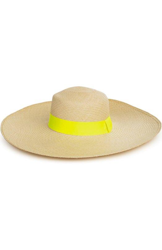 Купить Шляпа пляжная Artesano, PY102, Эквадор, Желтый, Соломка: 100%; Отделка-текстиль: 100%;
