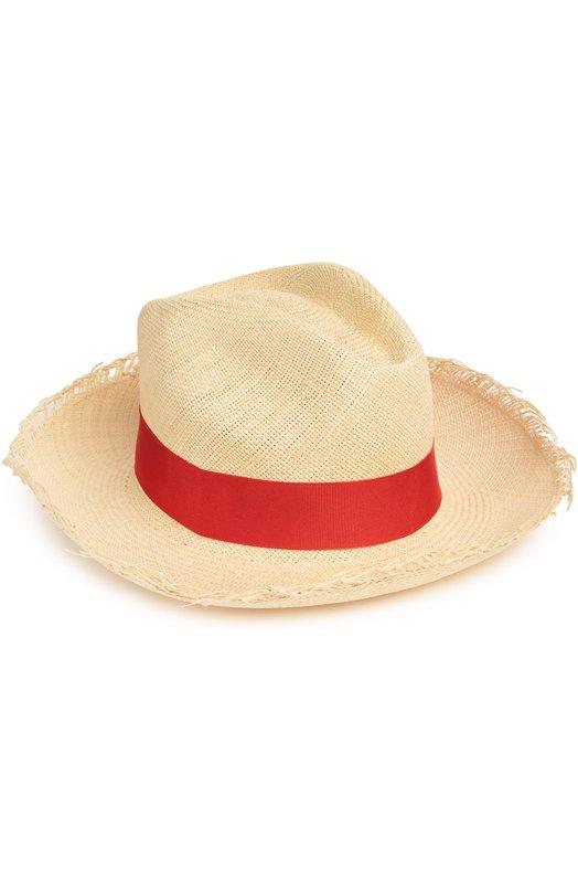 Шляпа пляжная ArtesanoГоловные уборы<br>Пляжная модель из гладкой плетеной соломки вошла в весенне-летнюю коллекцию 2016 года. В качестве украшения были использована красная лента из прочной ткани гросгрейн. Края широких полей намеренно необработаны.<br><br>Материал: Соломка: 100%; Отделка-текстиль: 100%;<br>Российский размер RU: 58<br>Размер производителя vendor: L<br>Цвет: Красный<br>Пол: Женский<br>Возраст: Взрослый