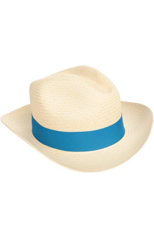 Шляпа пляжная ArtesanoГоловные уборы<br>В коллекцию сезона весна-лето 2016 года вошла светло-бежевая шляпа из прочной плетеной соломки. Дизайнеры марки украсили модель с широкими полями лентой из плотного фактурного гросгрейна синего цвета.<br><br>Материал: Соломка: 100%; Отделка-текстиль: 100%;<br>Российский размер RU: 58<br>Размер производителя vendor: L<br>Цвет: Синий<br>Пол: Женский<br>Возраст: Взрослый
