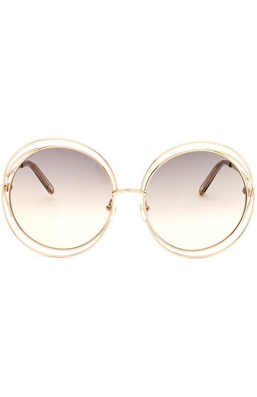 Солнцезащитные очки Chlo?Очки<br>Солнцезащитные очки Carlina с затемненными стеклами вошли в коллекцию сезона весна-лето 2016 года. Тонкая оправа круглой формы выполнена из позолоченного металла. Дужки украшены гравировкой в виде логотипа бренда.<br><br>Пол: Женский<br>Возраст: Взрослый<br>Размер производителя vendor: NS<br>Цвет: Золотой