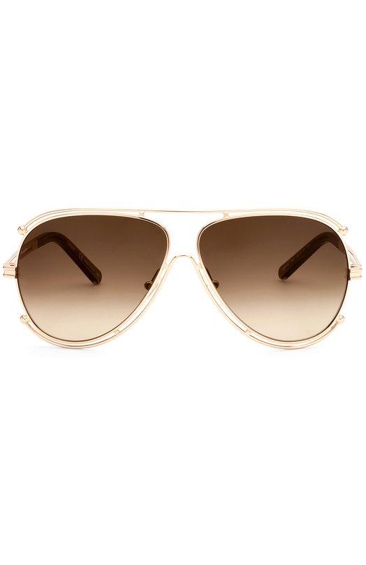Солнцезащитные очки Chlo?Очки<br>Круглая оправа с двойной перемычкой, выполненная из позолоченного металла, дополнена пластиковыми заушниками. Дизайнер марки включила солнцезащитные очки-авиаторы в весенне-летнюю коллекцию 2016 года.<br><br>Пол: Женский<br>Возраст: Взрослый<br>Размер производителя vendor: NS<br>Цвет: Золотой
