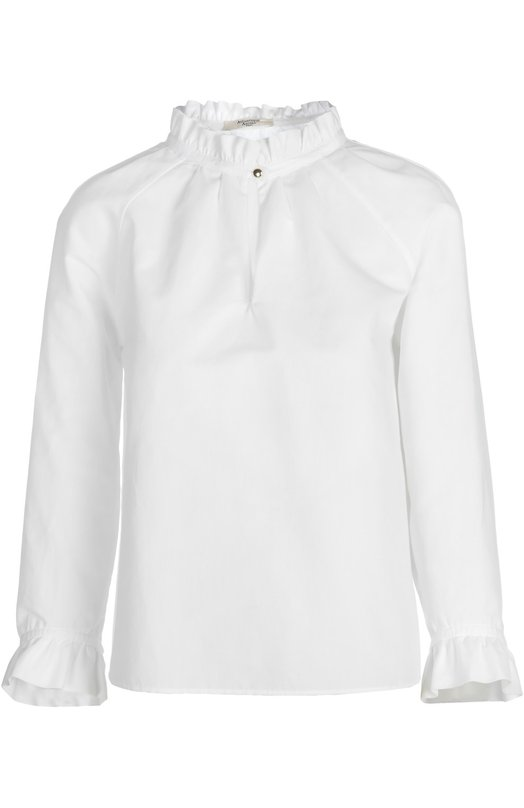 Блуза Atlantique AscoliБлузы<br>Модель прямого кроя вошла в коллекцию сезона весна-лето 2016 года. Для создания блузы использована белый мягкий хлопок. Горловина и края длинных рукавов декорированы воланами. Предлагаем носить с синей юбкой и белыми монками на контрастной подошве с протектором.<br><br>Российский размер RU: 44<br>Пол: Женский<br>Возраст: Взрослый<br>Размер производителя vendor: 2<br>Материал: Хлопок: 80%; Лен: 20%;<br>Цвет: Белый