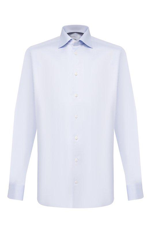 Полуприталенная сорочка с воротником кент EtonРубашки<br>Для создания рубашки использован мягкий саржевый хлопок голубого цвета. Модель с воротником акула и длинными рукавами с регулируемыми манжетами вошла в коллекцию сезона весна-лето 2016 года. Нам нравится сочетать с синим вязаным галстуком, пиджаком в клетку, темными брюками и лоферами.<br><br>Российский размер RU: 41<br>Пол: Мужской<br>Возраст: Взрослый<br>Размер производителя vendor: 41<br>Материал: Хлопок: 100%;<br>Цвет: Голубой