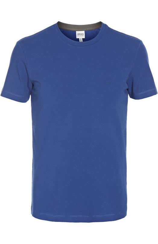 Футболка джерси Armani CollezioniФутболки<br>Джорджио Армани включил в коллекцию сезона весна-лето 2016 года синюю футболку силуэта slim-fit с короткими рукавами и круглым вырезом. Модель выполнена из ультрамягкого эластичного хлопка джерси. На груди — рисунко и логотип марки.<br><br>Российский размер RU: 56<br>Пол: Мужской<br>Возраст: Взрослый<br>Размер производителя vendor: XXXL<br>Материал: Хлопок: 94%; Эластан: 6%;<br>Цвет: Синий