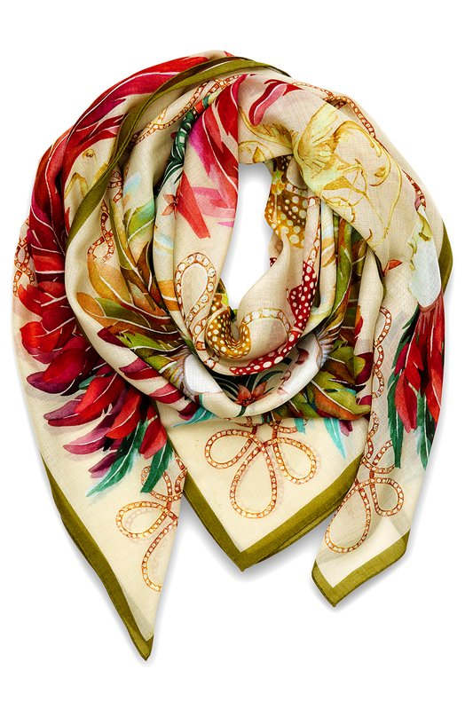 Шелковый платок Feather Plumes imperiales LaliqueПлатки<br><br><br>Российский размер RU: 140<br>Пол: Женский<br>Возраст: Взрослый<br>Размер производителя vendor: 140x140<br>Материал: 70% кашемир; 30% шелк;<br>Цвет: Бежевый