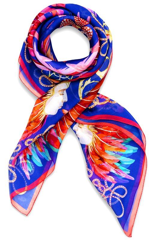 Купить Шелковый платок Imperial Feathers Lalique, 10506600, Франция, Синий, 100% шелк Муслин;