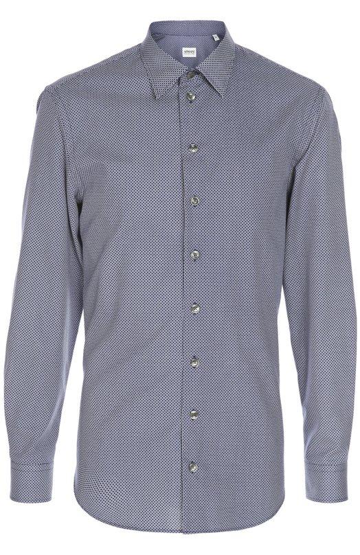 Рубашка Armani CollezioniРубашки<br>Темно-синяя рубашка из весенне-летней коллекции 2016 года сшита из мягкого хлопка с тканым графическим узором. Модель с длинными рукавами застегивается на пуговицы с логотипом бренда, основанного Джорджио Армани. Советуем носить с брюками, блейзером и лоферами.<br><br>Российский размер RU: 58<br>Пол: Мужской<br>Возраст: Взрослый<br>Размер производителя vendor: XXXL<br>Материал: Хлопок: 100%;<br>Цвет: Темно-синий