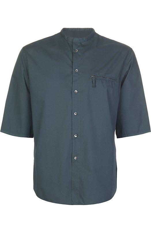 Рубашка Giorgio ArmaniРубашки<br>Джорджио Армани включил в коллекцию сезона весна-лето 2016 года рубашку с короткими рукавами и без воротника. Модель из мягкого хлопка поплина зеленого цвета застегивается на пуговицы, нагрудный карман – на молнию. Рекомендуем сочетать со светлыми брюками и сандалиями.<br><br>Российский размер RU: 56<br>Пол: Мужской<br>Возраст: Взрослый<br>Размер производителя vendor: 44<br>Материал: Хлопок: 100%;<br>Цвет: Морской волны