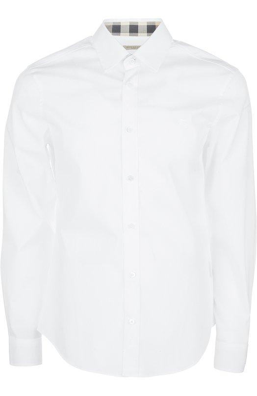 Рубашка Burberry BritРубашки<br>Белая рубашка с длинными рукавами сшита из мягкого поплина, внутренняя сторона воротника – из ткани в клетку, ставшую визитной карточкой бренда, основанного Томасом Берберри. Советуем носить с кардиганом, светлыми брюками чинос и лоферами.<br><br>Российский размер RU: 54<br>Пол: Мужской<br>Возраст: Взрослый<br>Размер производителя vendor: XXL<br>Материал: Хлопок: 97%; Эластан: 3%;<br>Цвет: Белый