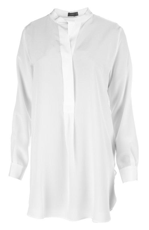 Удлиненная шелковая блуза с воротником-стойкой JosephБлузы<br>В весенне-летнюю коллекцию бренда, основанного Джозефом Этедгуи, вошла белоснежная блуза прямого кроя, с длинными рукавами. Удлиненная сзади модель сшита из тонкого мягкого шелка. Рекомендуем носить с длинной юбкой и лоферами.<br><br>Российский размер RU: 46<br>Пол: Женский<br>Возраст: Взрослый<br>Размер производителя vendor: 38<br>Материал: Шелк: 100%;<br>Цвет: Белый