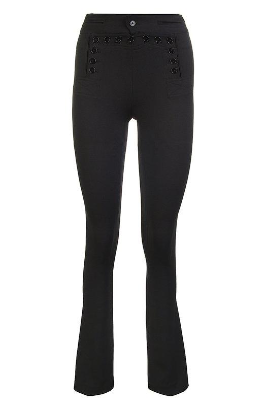 Брюки Polo Ralph LaurenБрюки<br>В коллекцию сезона весна-лето 2016 года Ральф Лорен включил облегающие черные брюки с легким клешем. Модель из стрейчевой шерстяной ткани дополнена застежкой лацбант, характерной для форменной одежды моряков.<br><br>Российский размер RU: 48<br>Пол: Женский<br>Возраст: Взрослый<br>Размер производителя vendor: 4<br>Материал: Шерсть: 99%; Эластан: 1%;<br>Цвет: Черный