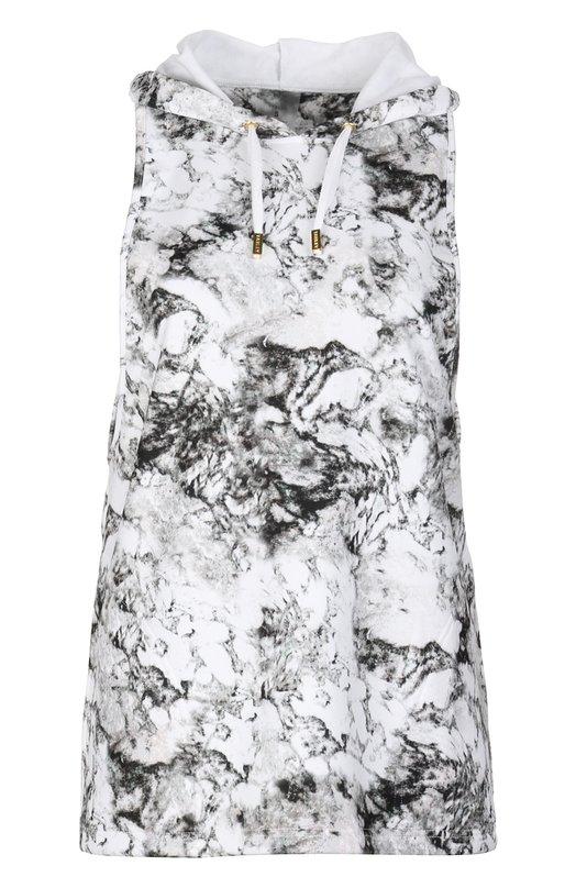 Майка джерси VarleyМайки<br>Майка с капюшоном сшита из гладкой ткани стрейч с черно-белым принтом, имитирующим мраморный узор. Дизайнеры марки включили удлиненную модель без рукавов и с вырезом на спине в коллекцию сезона весна-лето 2016 года.<br><br>Российский размер RU: 48<br>Пол: Женский<br>Возраст: Взрослый<br>Размер производителя vendor: L<br>Материал: Полиэстер: 85%; Эластан: 15%;<br>Цвет: Черно-белый