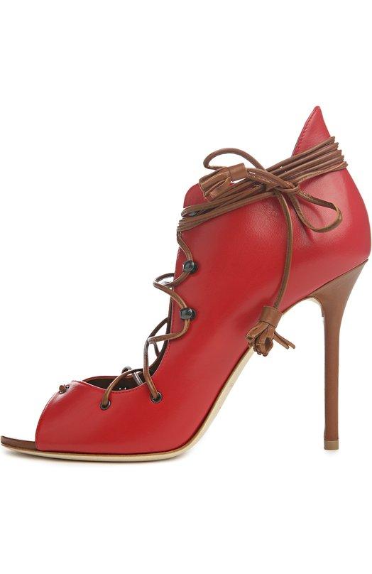 Кожаные ботильоны Savannah на шнуровке Malone SouliersБотильоны<br>Ботильоны Savannah на корсетной шнуровке произведены из гладкой матовой кожи красного цвета. Тонкие шнурки коричневого цвета, украшенные кисточками, сделаны из мягкой кожи. Мэри Элис Мэлоун включила модель на тонкой подошве и высокой шпильке в коллекцию сезона весна-лето 2016 года.<br><br>Российский размер RU: 38<br>Пол: Женский<br>Возраст: Взрослый<br>Размер производителя vendor: 38<br>Материал: Кожа натуральная: 100%; Стелька-кожа: 100%; Подошва-кожа: 100%;<br>Цвет: Красный