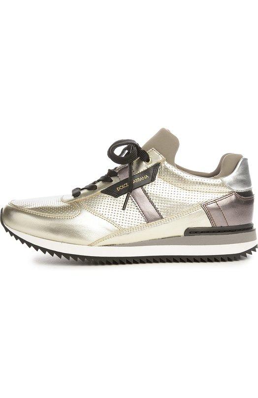 Кроссовки из металлизированной кожи Dolce & Gabbana 0112/CK0003/AR419