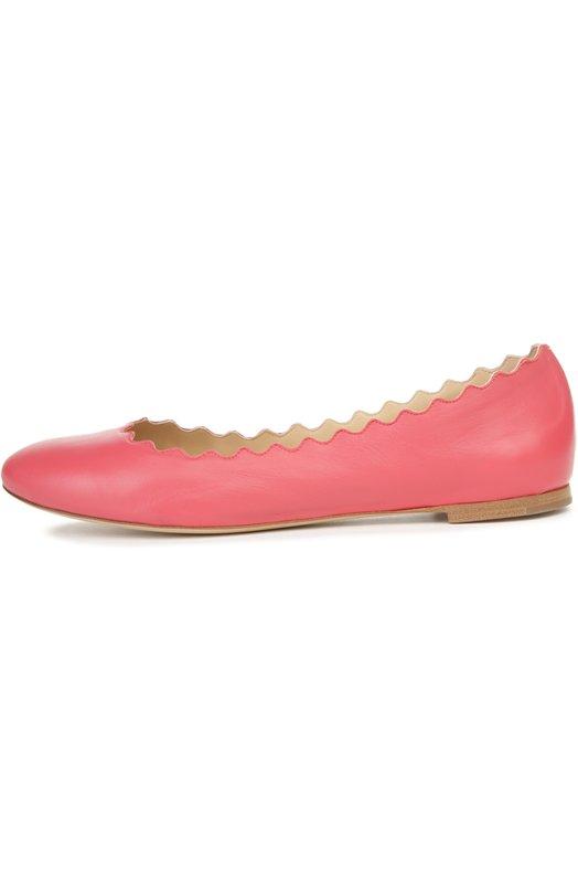 Купить Кожаные балетки Lauren с фигурным вырезом Chloé, CH24160/NAPPA DREAM SHEEPSKIN, Италия, Розовый, Кожа натуральная: 100%; Стелька-кожа: 100%; Подошва-кожа: 100%;