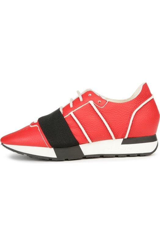 Кожаные кроссовки с эластичной вставкой Balenciaga 410937/WAWR1