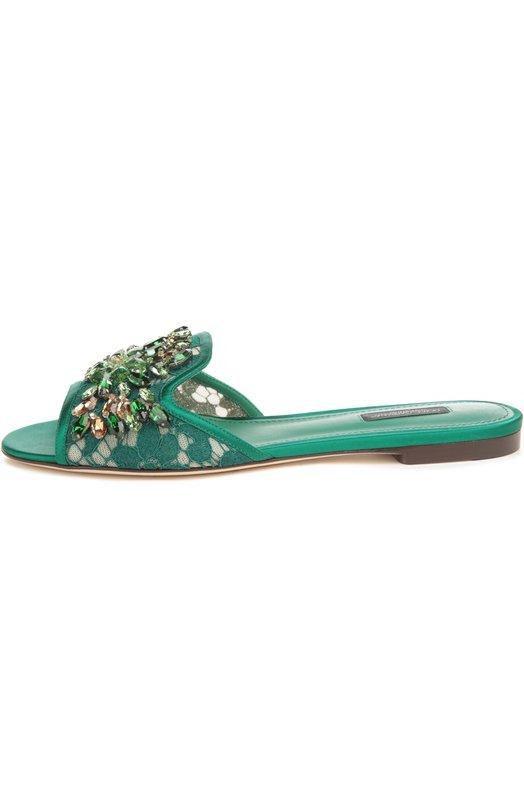 Кружевные шлепанцы Bianca с кристаллами Dolce & Gabbana 0112/CQ0022/AL198