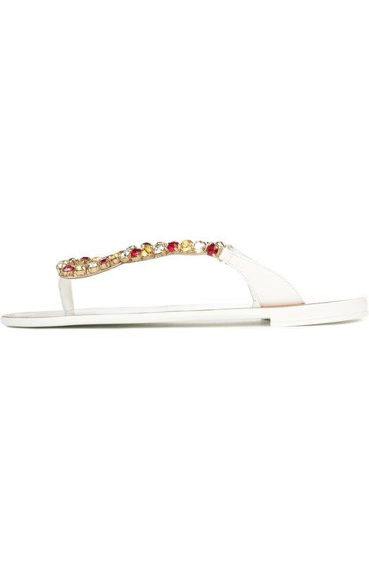 Кожаные шлепанцы с декором Dolce & Gabbana 0112/CW0022/A1471