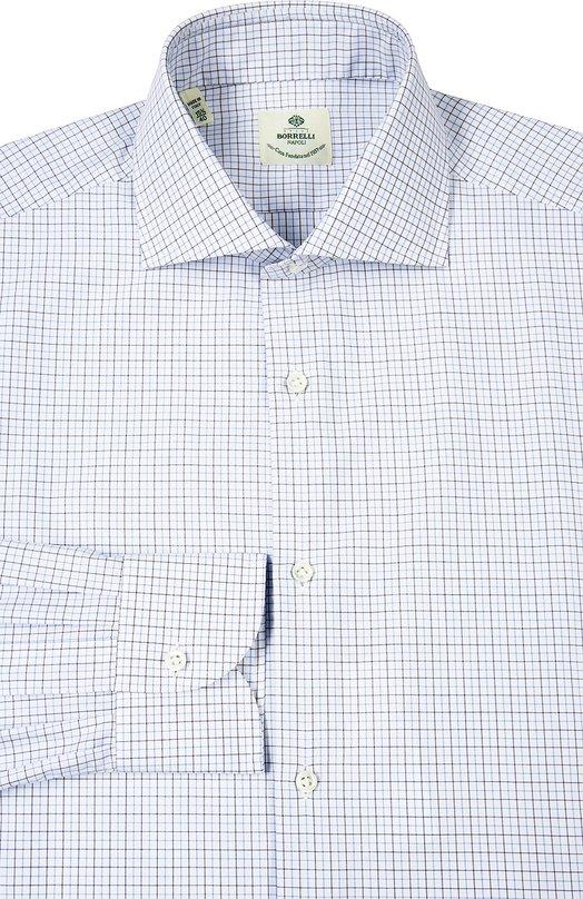Сорочка с воротником акула Luigi BorrelliРубашки<br>Мастера бренда, основанного Анной Боррелли, произвели рубашку с длинным рукавом из белого мягкого хлопка в тонкую серо-голубую полоску. Модель из весенне-летней коллекции 2016 года и манжеты застегиваются на пуговицы.<br><br>Российский размер RU: 56<br>Пол: Мужской<br>Возраст: Взрослый<br>Размер производителя vendor: 44<br>Материал: Хлопок: 100%;<br>Цвет: Светло-голубой