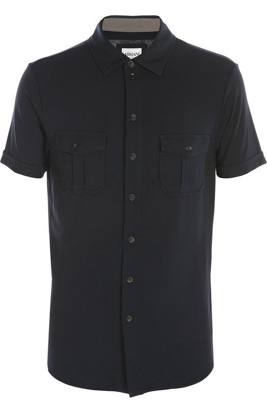 Рубашка джерси Armani CollezioniРубашки<br>Джорджио Армани включил рубашку с коротким рукавом в коллекцию сезона весна-лето 2016 года. Модель с двумя нагрудными накладными карманами сшита из мягкого эластичного материала темно-синего цвета. Рекомендуем носить с черной курткой, светлыми брюками и синими ботинками.<br><br>Российский размер RU: 56<br>Пол: Мужской<br>Возраст: Взрослый<br>Размер производителя vendor: XXL<br>Материал: Вискоза: 95%; Эластан: 5%;<br>Цвет: Темно-синий