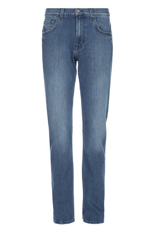 Джинсы 7 For All MankindДжинсы<br>Синие прямые джинсы с классической посадкой на талии выполнены из эластичного плотного хлопка с небольшими потертостями. Модель вошла в коллекцию сезона весна-лето 2016 года. Наши стилисты рекомендуют сочетать с темной рубашкой, коричневым галстуком, светлым блейзером и лоферами.<br><br>Российский размер RU: 48<br>Пол: Мужской<br>Возраст: Взрослый<br>Размер производителя vendor: 32<br>Материал: Хлопок: 92%; Эластан: 8%;<br>Цвет: Синий