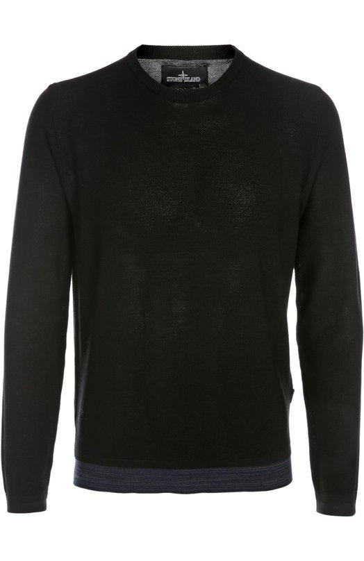 Вязаный пуловер Stone IslandСвитеры<br>Черный джемпер из весенне-летней коллекции 2016 года дополнен по низу вставкой синего цвета, имитирующей край футболки. Модель с длинными рукавами и круглым вырезом произведена из эластичного мягкого хлопка. Попробуйте сочетать с брюками и слипонами.<br><br>Российский размер RU: 46<br>Пол: Мужской<br>Возраст: Взрослый<br>Размер производителя vendor: S<br>Материал: Хлопок: 90%; Полиамид: 10%;<br>Цвет: Черный