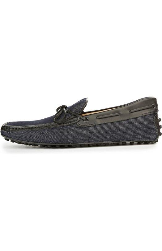 Топсайдеры из денима с отделкой Tod'sТопсайдеры<br>Темно-синие топсайдеры Gommino, укращенные продетым по периметру кожаным шнуром вошли в коллекцию сезона весна-лето 2016 года. Обувь сшита из прочного темно-синего денима. Тонкая подошва дополнена круглыми резиновыми шипами, ставшими знаковыми для этой модели.<br><br>Российский размер RU: 43<br>Пол: Мужской<br>Возраст: Взрослый<br>Размер производителя vendor: 9<br>Материал: Стелька-кожа: 100%; Подошва-резина: 100%; Отделка кожа натуральная: 100%; Текстиль: 100%;<br>Цвет: Темно-синий