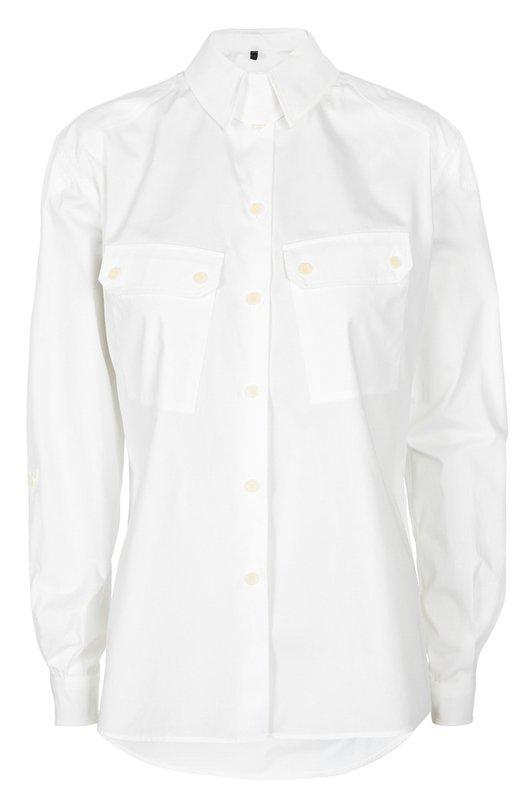 Приталенная блуза с накладными карманами BelstaffБлузы<br>Рубашка из коллекции сезона весна-лето 2016 года дополнена двумя накладными карманами с клапанами. Для изготовления модели с длинным рукавом использован мягкий хлопок белого цвета. Изделие и манжеты застегиваются на пуговицы.<br><br>Российский размер RU: 46<br>Пол: Женский<br>Возраст: Взрослый<br>Размер производителя vendor: 44<br>Материал: Хлопок: 100%;<br>Цвет: Белый