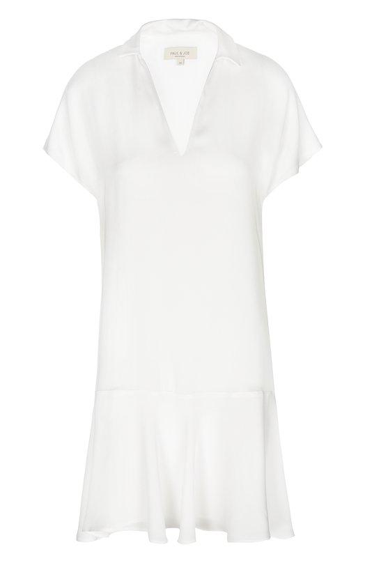 Мини-платье с глубоким V-образным вырезом и асимметричной юбкой Paul&Joe DBELDEJ0UR