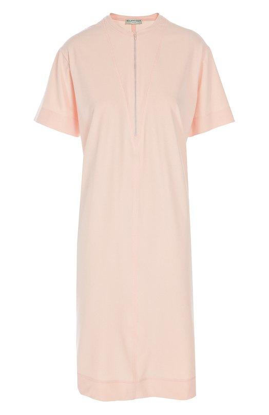 Прямое платье-футболка с вырезом на молнии Balenciaga 413293/TQK35