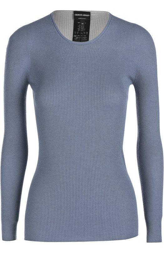 Пуловер Giorgio ArmaniСвитеры<br>В весенне-летнюю коллекцию бренда, основанного Джорджио Армани, вошел облегающий пуловер с круглым вырезом и длинными рукавми. Для производства модели использована кашемировая пряжа голубого, бежевого и черного цветов.<br><br>Российский размер RU: 50<br>Пол: Женский<br>Возраст: Взрослый<br>Размер производителя vendor: 48<br>Материал: Кашемир: 70%; Шелк: 30%;<br>Цвет: Разноцветный