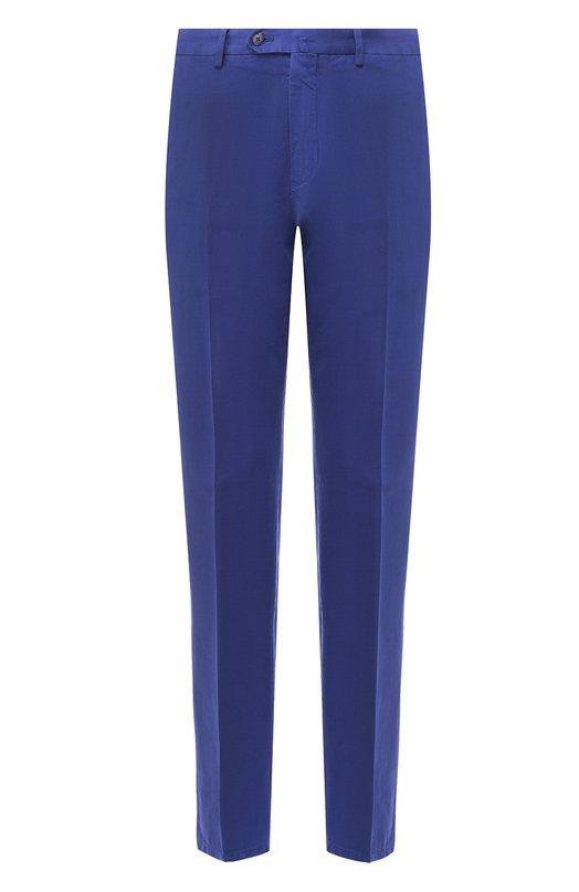Зауженные брюки из смеси хлопка и льна Loro PianaБрюки<br><br><br>Российский размер RU: 48<br>Пол: Мужской<br>Возраст: Взрослый<br>Размер производителя vendor: 46<br>Материал: Хлопок: 76%; Лен: 24%;<br>Цвет: Синий