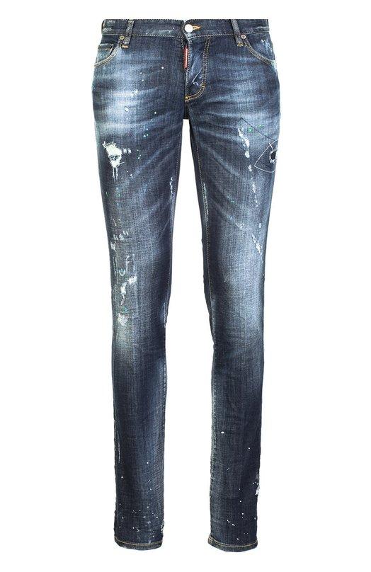 Джинсы Dsquared2Джинсы<br>Дин иДэн Кейтены включили в коллекцию сезона весна-лето 2016 года джинсы slim fit из эластичного хлопка синего цвета. Модель с классической посадкой на талии декорирована потертостями и заштопанными разрезами.<br><br>Российский размер RU: 46<br>Пол: Мужской<br>Возраст: Взрослый<br>Размер производителя vendor: 44<br>Материал: Хлопок: 98%; Эластан: 2%;<br>Цвет: Синий
