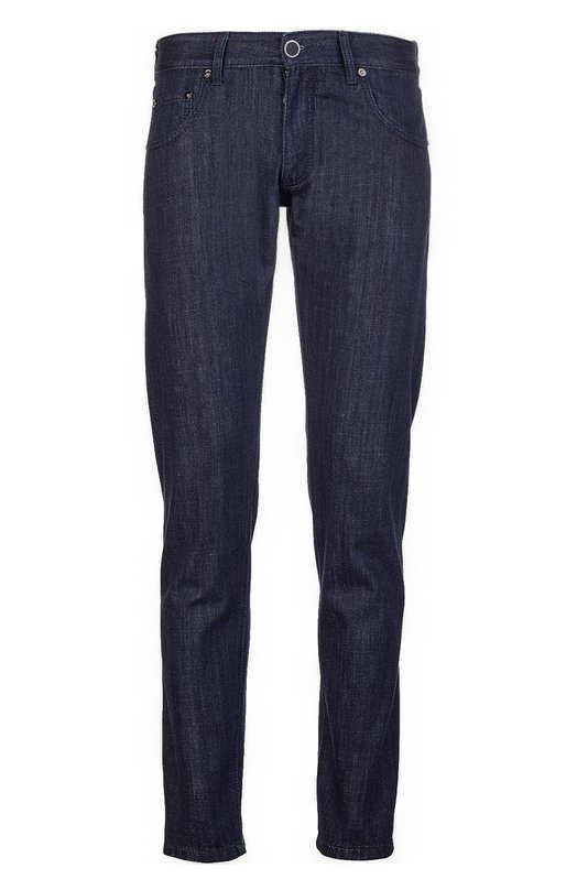 Прямые джинсы с логотипом бренда Giorgio ArmaniДжинсы<br>В коллекцию сезона весна-лето 2016 года вошли прямые джинсы regular fit. Модель сшита из плотного хлопка темно-синего цвета. Пояс со шлевками для широкого ремня дополнен кожной нашивкой с металлическим логотипом бренда, основанного Джорджио Армани.<br><br>Российский размер RU: 48<br>Пол: Мужской<br>Возраст: Взрослый<br>Размер производителя vendor: 32<br>Материал: Хлопок: 100%;<br>Цвет: Темно-синий