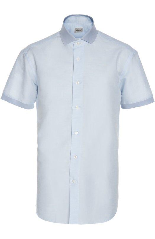 Рубашка BrioniРубашки<br>В весенне-летнюю коллекцию 2016 года вошла светло-голубая рубашка с короткими рукавами и трикотажным воротником. Приталенная модель выполнена вручную из тонкой льняной ткани с добавлением мягкой хлопковой нити.<br><br>Российский размер RU: 54<br>Пол: Мужской<br>Возраст: Взрослый<br>Размер производителя vendor: XL<br>Материал: Лен: 67%; Хлопок: 33%;<br>Цвет: Голубой
