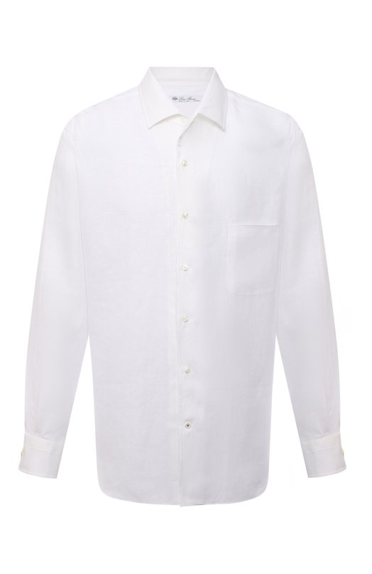 Льняная рубашка с воротником кент Loro PianaРубашки<br><br><br>Российский размер RU: 50<br>Пол: Мужской<br>Возраст: Взрослый<br>Размер производителя vendor: L<br>Материал: Лен: 100%;<br>Цвет: Белый
