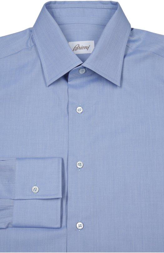 Сорочка BrioniРубашки<br>Рубашка из весенне-летней коллекции 2016 года произведена вручную из гладкого тонкого хлопка синего цвета. Модель с воротником кент и длинными рукавами с итальянскими манжетами застегивается на белые пуговицы.<br><br>Российский размер RU: 52<br>Пол: Мужской<br>Возраст: Взрослый<br>Размер производителя vendor: 42<br>Материал: Хлопок: 100%;<br>Цвет: Синий