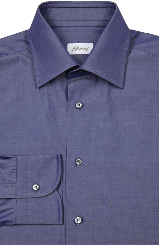 Сорочка BrioniРубашки<br>Для изготовления темно-синей рубашки с длинными рукавами был использован тонкий шелковистый хлопок. Изделие с воротником кент застегивается на перламутровые пуговицы. Модель вошла в весенне-летнюю коллекцию 2016 года.<br><br>Российский размер RU: 42<br>Пол: Мужской<br>Возраст: Взрослый<br>Размер производителя vendor: 42<br>Материал: Хлопок: 100%;<br>Цвет: Темно-синий