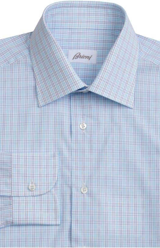 Сорочка BrioniРубашки<br>Рубашка из гладкого хлопка с принтом в клетку голубого цвета вошла в весенне-летнюю коллекцию 2016 года. Модель с воротником кент и длинными рукавами с итальянскими манжетами застегивается на белые пуговицы.<br><br>Российский размер RU: 40<br>Пол: Мужской<br>Возраст: Взрослый<br>Размер производителя vendor: 40<br>Материал: Хлопок: 100%;<br>Цвет: Голубой