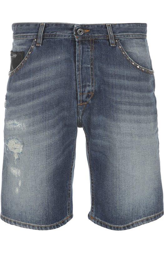 Джинсовые шорты Just CavalliШорты<br>Роберто Кавалли включил джинсовые шорты, декорированные заклепками, в коллекцию сезона весна-лето 2016 года. Модель из мягкого потертого хлопка синего цвета застегивается на молнию и пуговицу. Задний карман дополнен кожаной нашивкой с логотипом бренда.<br><br>Российский размер RU: 46<br>Пол: Мужской<br>Возраст: Взрослый<br>Размер производителя vendor: 44<br>Материал: Хлопок: 100%; Отделка кожа натуральная: 100%;<br>Цвет: Синий