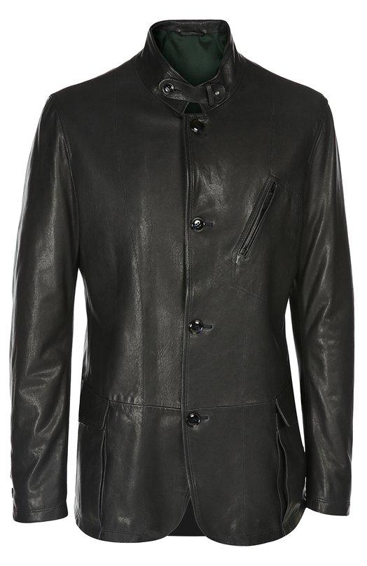 Кожаная куртка Giorgio ArmaniКуртки<br>Куртка с длинным рукавом и воротником-стойкой вошла в весенне-летнюю коллекцию марки, основанной Джорджио Армани. Модель из мягкой темно-синей кожи дополнена тремя карманами. Рекомендуем сочетать с белой футболкой, серым кардиганом, черными брюками и темными туфлями.<br><br>Российский размер RU: 54<br>Пол: Мужской<br>Возраст: Взрослый<br>Размер производителя vendor: 50<br>Материал: Подкладка-ацетат: 68%; Подкладка-полиэстер: 32%; Кожа натуральная: 100%;<br>Цвет: Темно-синий