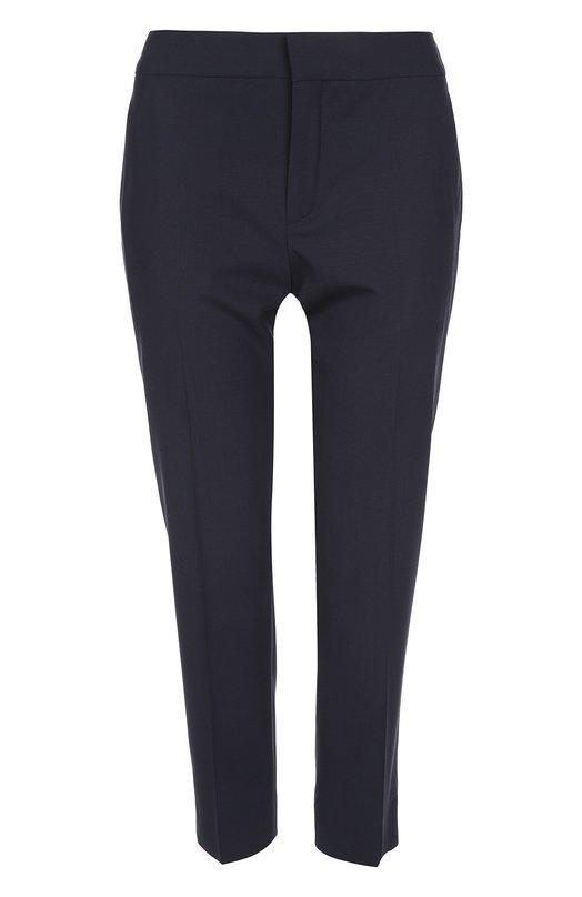 Брюки Chlo?Брюки<br>Укороченные брюки со стрелками сшиты из мягкой эластичной полушерсти синего цвета. Модель с двумя задними и двумя боковыми карманами вошла в коллекцию сезона весна-лето 2016 года. Наши стилисты рекомендуют сочетать с черным пальто, синей блузой и замшевыми лоферами в тон.<br><br>Российский размер RU: 44<br>Пол: Женский<br>Возраст: Взрослый<br>Размер производителя vendor: 38<br>Материал: Шерсть: 98%; Эластан: 2%;<br>Цвет: Синий