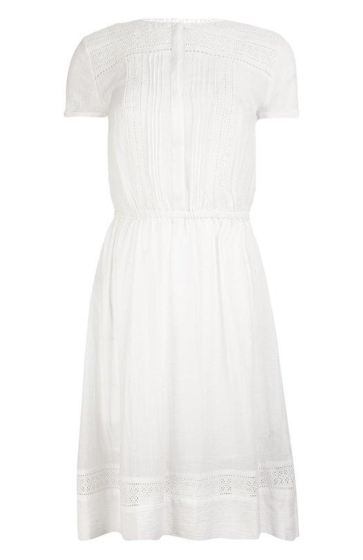 Платье Armani JeansПлатья<br>Джорджио Армани включил белое платье, украшенное шитьем, в весенне-летнюю коллекцию 2016 года. Модель с круглым вырезом и короткими рукавами изготовлена мастерами бренда из мягкого хлопкового муслина. Изделие застегивается на потайные пуговицы.<br><br>Российский размер RU: 44<br>Пол: Женский<br>Возраст: Взрослый<br>Размер производителя vendor: 6<br>Материал: Хлопок: 100%;<br>Цвет: Белый
